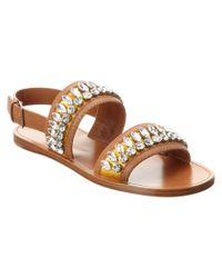Miu Miu | Yellow Embellished Satin & Leather Sandal | Lyst