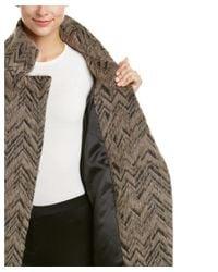 Trina Turk - Natural Madison Chevron Alpaca-blend Asymmetrical Coat - Lyst
