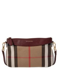 Burberry | Brown Peyton House Check & Leather Clutch Bag | Lyst