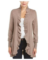 Magaschoni   Natural Cashmere Ruffle Cardigan   Lyst