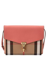 Burberry | Red Macken Small House Check & Leather Crossbody | Lyst