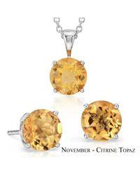 Suzy Levian - Multicolor 18k Goldplated Sterling Silver 3ct Citrine Topaz November Birthstone Set Made With Swarovski Gemstones - Lyst