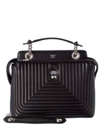 Fendi | Black Dotcom Click Small Quilted Leather Chain Satchel | Lyst