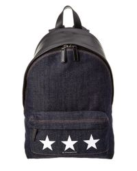 Givenchy | Blue Small Star Print Denim & Leather Backpack | Lyst