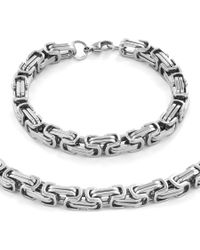 "West Coast Jewelry | Metallic Men's Stainless Steel Byzantine Chain Necklace (24"""") And Bracelet (9"""") Set - (9mm) | Lyst"