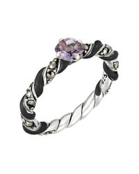 Jan Leslie - Metallic Reef Ribbon Ring With Amethyst Accent: The Stardust Pavé Jewelry Collection - Lyst