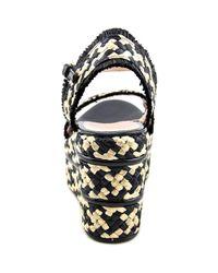 Gucci - Maya Women Open Toe Canvas Black Wedge Heel - Lyst