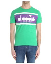 Diadora - Men's Green Cotton T-shirt for Men - Lyst