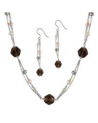 Splendid - Multicolor Smokey Quartz Pearl Necklace & Earring Set - Lyst