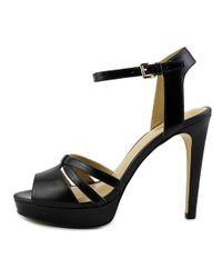 MICHAEL Michael Kors - Black Catalina Open Toe Leather Platform Heel - Lyst