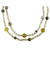 Catherine Malandrino - Metallic Freshwater Cultured Pearl And Gems Bead Necklace - Lyst