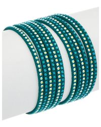 Swarovski - Green Crystal Slake Leather Wrap Bracelet - Lyst