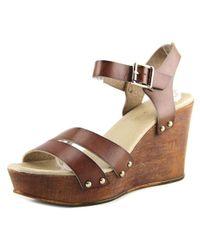 ALDO - Brown Eowowia Women Open Toe Leather Wedge Sandal - Lyst