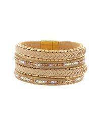 Sparkling Sage | Metallic 14k Plated & Leather Crystal & Resin Bracelet | Lyst