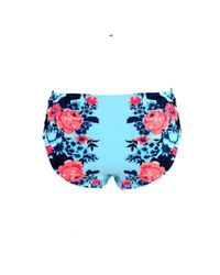 Seafolly - Blue Panties Swimsuit Bottom Bella Rose High Ruched Side Retro - Lyst