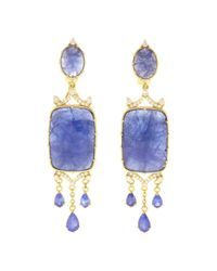 Judith Ripka - Metallic Allegria 18k 62.84 Ct. Tw. Diamond & Tanzanite Chandelier Earrings - Lyst