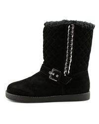 G by Guess - Alfred Women Round Toe Canvas Black Snow Boot - Lyst