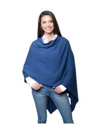 Portolano - Blue Cashmere Poncho - Lyst