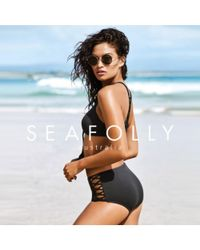 Seafolly - Black High Waisted Lattice Panties Swimsuit - Lyst