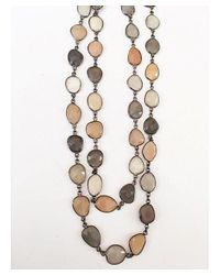 Blue Candy Jewelry | Gray Peach And Grey Moonstone Necklace | Lyst