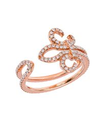 CR By Casa Reale - Metallic 18 K Gold White Diamond Fluer De Lis Ring - Lyst