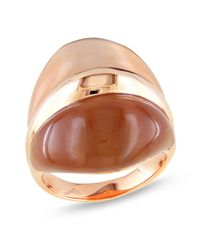 Catherine Malandrino - Brown Cat Eye Ring Rose Plated Sterling Silver - Lyst