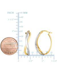 JewelryAffairs - 14k Yellow And White Gold Square Tube Double Criss Cross Ovalish Hoop Earrings - Lyst