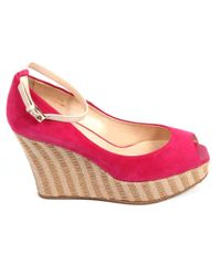 Tod's - Pink Women's Fuchsia Suede Wedges - Lyst