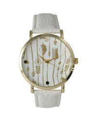 Olivia Pratt - Metallic Decorative Arrow Print Watch - Lyst