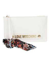 Love Moschino - Women's White Polyester Clutch - Lyst