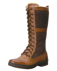 Ugg - Brown Womens Elvia Leather Round Toe Mid-calf Cold Weather Boots - Lyst