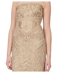 Sue Wong - Brown Metallic Embroidered Ribbon Beige Strapless Dress - Lyst