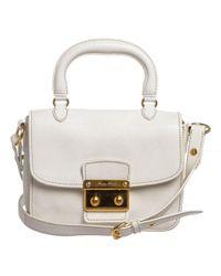 Miu Miu - White Leather Madras Satchel Shoulder Bag - Lyst