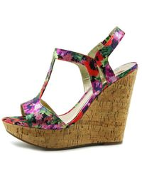 Carlos By Carlos Santana - Multicolor Bondi Open Toe Canvas Wedge Sandal - Lyst