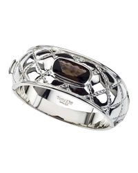Jewelista - White Sterling Silver & Smoky Quartz Quilted Bangle - Lyst