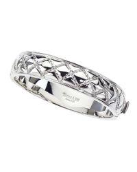 Jewelista - White Sterling Silver Slim Quilted Bangle Bracelet for Men - Lyst