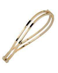 "JewelryAffairs - Metallic 10k Yellow Gold Wave Women's Double Bangle Bracelet, 7.5"" - Lyst"