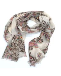 La Fiorentina - Multicolor Women's Scarf With Animal/floral Print - Lyst