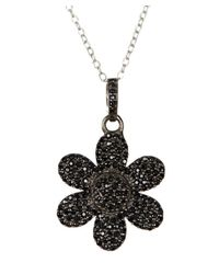 Adornia - Black Spinel And Sterling Silver Flower Power Pendant Necklace - Lyst