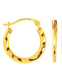 JewelryAffairs - 14k Yellow Gold Swirl Round Hoop Earrings, Diameter 12mm - Lyst