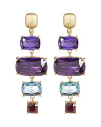 Adornia - Yellow Gold Vermeil And Crystal Multi Color Ladder Earrings - Lyst