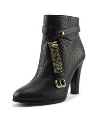 Moschino - Taglia Women Round Toe Leather Black Ankle Boot - Lyst