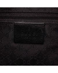 Gucci | Pre Owned - Gray Canvas Fabric Black Leather Shoulder Bag | Lyst