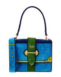 Prada - Blue Cahier Velvet Shoulder Bag - Lyst