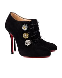 Christian Louboutin - Women's Black Suede Ankle Boots - Lyst