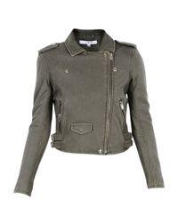IRO - Women's Green Leather Outerwear Jacket - Lyst