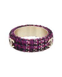 Chanel - Gold-tone Purple Large Boucle Bangle - Lyst