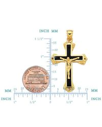 JewelryAffairs - 14k Yellow Gold And Black Enamel Crucifix Cross Mens Pendant for Men - Lyst