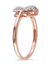 Catherine Malandrino - White Diamond Double Heart Ring - Lyst