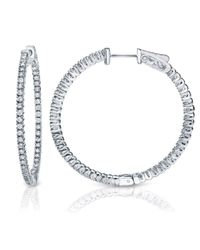 Suzy Levian - Pink 14k White Gold 1.6ct Tdw Inside Out Diamond Hoop Earrings - Lyst